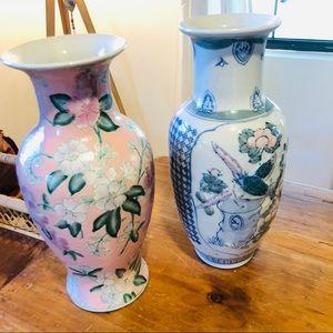 Vintage Accents - {PAIR} Imported Vintage Ceramic Vases, Palm Beach